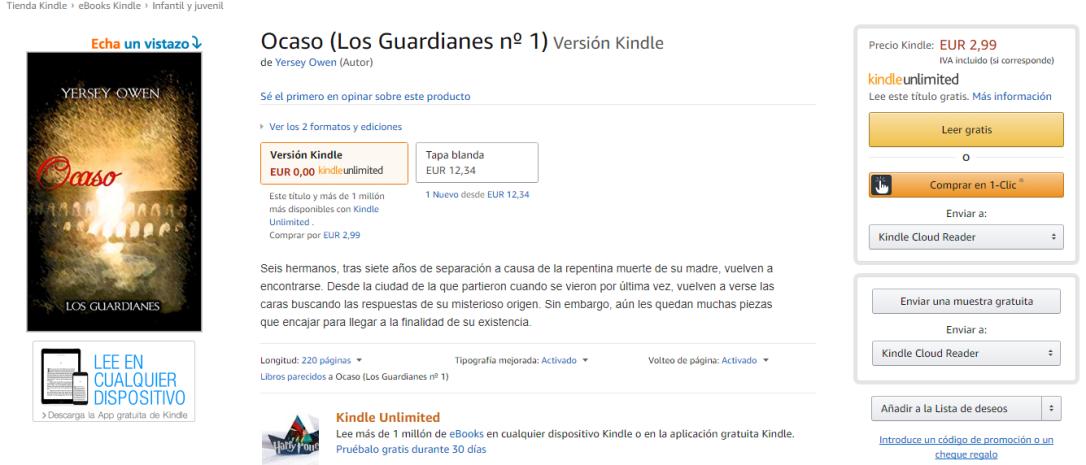 Ocaso Kindle